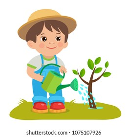 Cute Cartoon Boy With Watering Can. Young Farmer Working In The Garden. Garden Watering. Cartoon Vector Illustration.