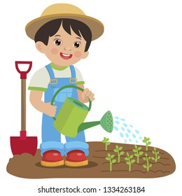 Cute Cartoon Boy With Watering Can. Young Farmer Working In The Garden. Colorful Simple Design Vector. Spring Gardening. Garden Watering Vector Illustration.