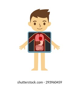 Cute cartoon boy with x-ray screen showing his internal organs. Element of educational infographics for kids.