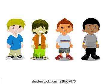Cute cartoon boys. Vector clip art illustration with simple gradients. Each in a separate layer.