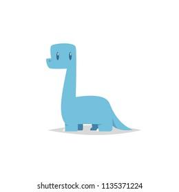 Cute cartoon brachiosaurus vector