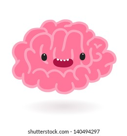 Cute cartoon brain character.