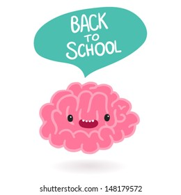 Cute cartoon brain character with bubble speech - Back to school