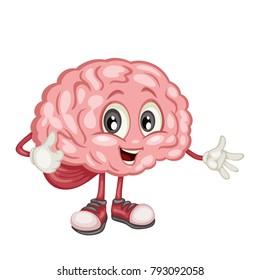 Cute Cartoon Brain Character Vector Illustration. Funny Human Brain Mascot