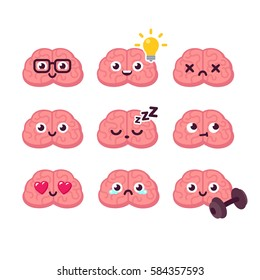 Cute cartoon brain emoticons set.