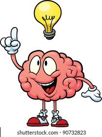 Cute cartoon brain with having an idea. Vector illustration with simple gradients. All in a single layer.