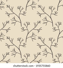 Cute cartoon branches seamless pattern. Background  with plant, branch. Wrapping paper, textile.