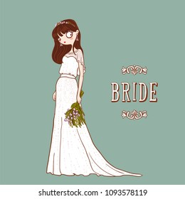 Cute cartoon Bride in white wedding dress with bouquet of flowers. Vector illustration