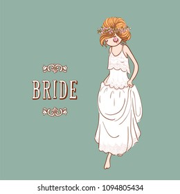 Cute cartoon Bride in white wedding dress with wreath of flowers. Vector illustration