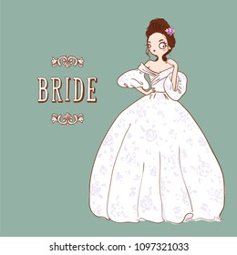 Cute cartoon Bride in white wedding dress. Vector illustration