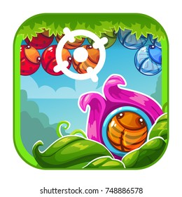 Cute cartoon bright app icon with shooter game concept for game or web design. Vector GUI asset.