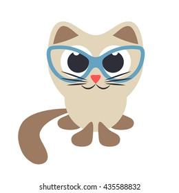 Cute cartoon brown cat in glasses