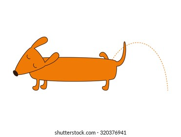 Cute cartoon brown contoured foxy colored pissing dachshund with closed eyes, brown nose, one leg up, curled tail isolated on white background. Logo template, design element. Flat style illustration