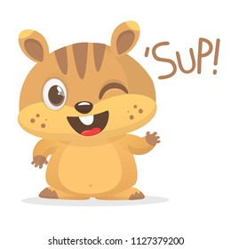 Cute cartoon brown marmot looking . Groundhog Day isolated vector illustration.