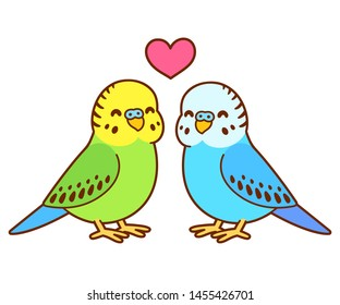 Cute cartoon budgie couple drawing. Little parakeet birds in love with heart above. Isolated vector clip art illustration.