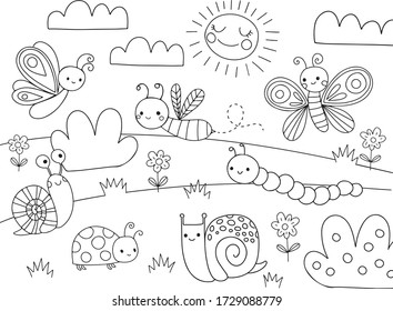 Cute Cartoon Bugs Coloring Page for kids. Vector black line illustration. Bug, insect, bee, butterfly, snail.