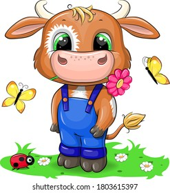 Cute cartoon bull with flower and butterflies. Vector illustration of animal isolated on white.