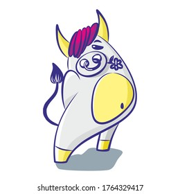 Cute cartoon bull holds a flower in his mouth on a white background. Isolated object