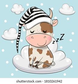 Cute Cartoon Bull is sleeping a on the Cloud