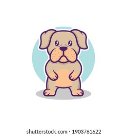 cute cartoon bulldog standing vector illustration