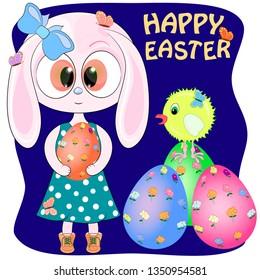 cute cartoon bunny with chicken and easter egs. vector illustration. rabbit cartoon vector illustration.