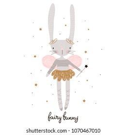 Cute cartoon bunny fairy. Rabbit bellerina with wings Childish print for nursery, kids apparel,poster, postcard. Vector Illustration