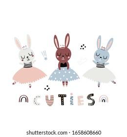Cute cartoon bunny girls ballerinas in floral. Childish print for nursery, kids apparel,poster, postcard. Vector Illustration