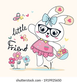 Cute cartoon bunny little friends vector illustration. Can be used for baby t-shirt print, fashion print design, kids wear, baby shower celebration greeting and invitation card.