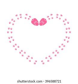 Cute Cartoon Bunny Paw Print On White Background Vector Animal Footprint Border Heart Shaped