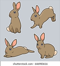 Cute cartoon bunny rabbit in a variety of poses: standing, jumping, laying down