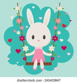 Cute cartoon bunny sitting on a floral swing