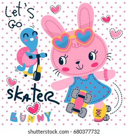 Cute cartoon bunny and turtle racing with roller skate and scooter on polka dot background illustration vector.