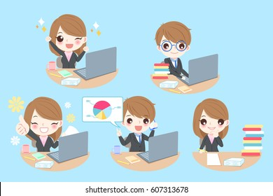 cute cartoon business people work hard with blue background