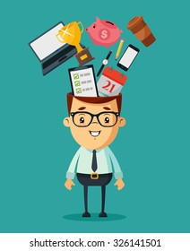 Cute Cartoon Businessman. Different Objects in His Head: Piggy Bank, Phone, Laptop, Calendar, Clocks, Golden Cup, Pencil and Cup of Coffee. Vector Illustration.