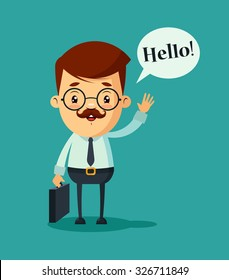 "Cute Cartoon Businessman Saying ""Hello"". Colorful Vector Illustration"