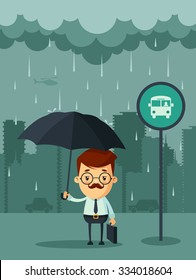 Cute Cartoon Businessman with Umbrella Standing Under the Rain and Waiting for the Bus. Big City Silhouette on the Background. Vector Illustration