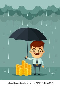 Cute Cartoon Businessman with Umbrella Standing Under the Rain and Protecting His Money. Vector Illustration