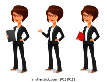 cute cartoon businesswoman in elegant suit