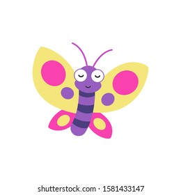 Cute cartoon butterfly vector illustration, simple flat design template.