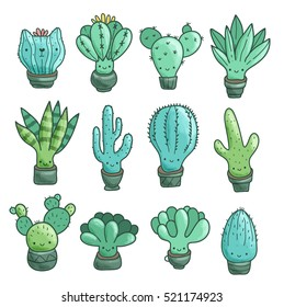 Cute cartoon cacti and succulents set. Funny cat plant in the pot.
