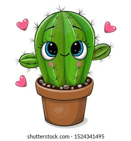 Cute Cartoon Cactus with eyes isolated on a white background