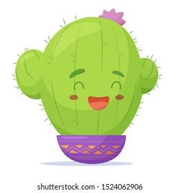 Cute Cartoon Cactus girl. Vector illustration. eps