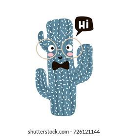 Cute cartoon cactus in glasses. Childish print for nursery, kids apparel,poster, postcard. Vector Illustration