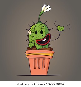 Cute cartoon cactus on beige background. Hand drawn or doodle cactus. It's a happy day vector illustration.
