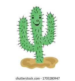 Cute cartoon cactus. Vector illustration