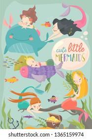 Cute cartoon card with little mermaids. Under the sea