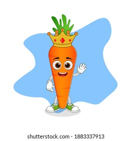 Cute Cartoon Carrot A Wise King with Gold Crown, Nice Design Theme For Vegetable Characters