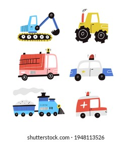 Cute cartoon cars vector collection isolated on white. Hand drawn flat vehicle set. Excavator, police auto, ambulance, tractor, fire truck and locomotive. Scandinavian style various transports clipart