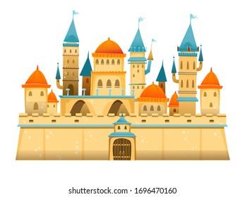Cute cartoon castle. FairyTale cartoon castle. Fantasy fairy tale palace. Vector illustration.