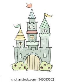 Cute cartoon castle for prince and princess with towers and flags. Doodle magic fairy tale kingdom. Hand drawn vector illustration isolated on white background.